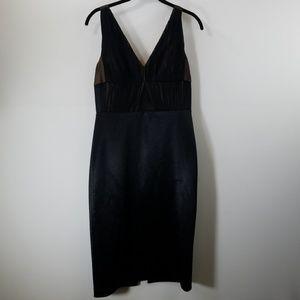 Vera Wang Black V-neck Shift Dress Size 6